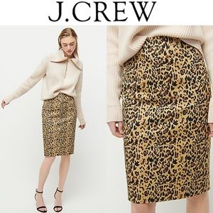 🔖New 0 J. CREW No. 2 Pencil Skirt Leopard Print